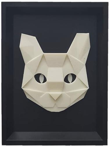 Quadro 3D Gatinho Branco Geométrico